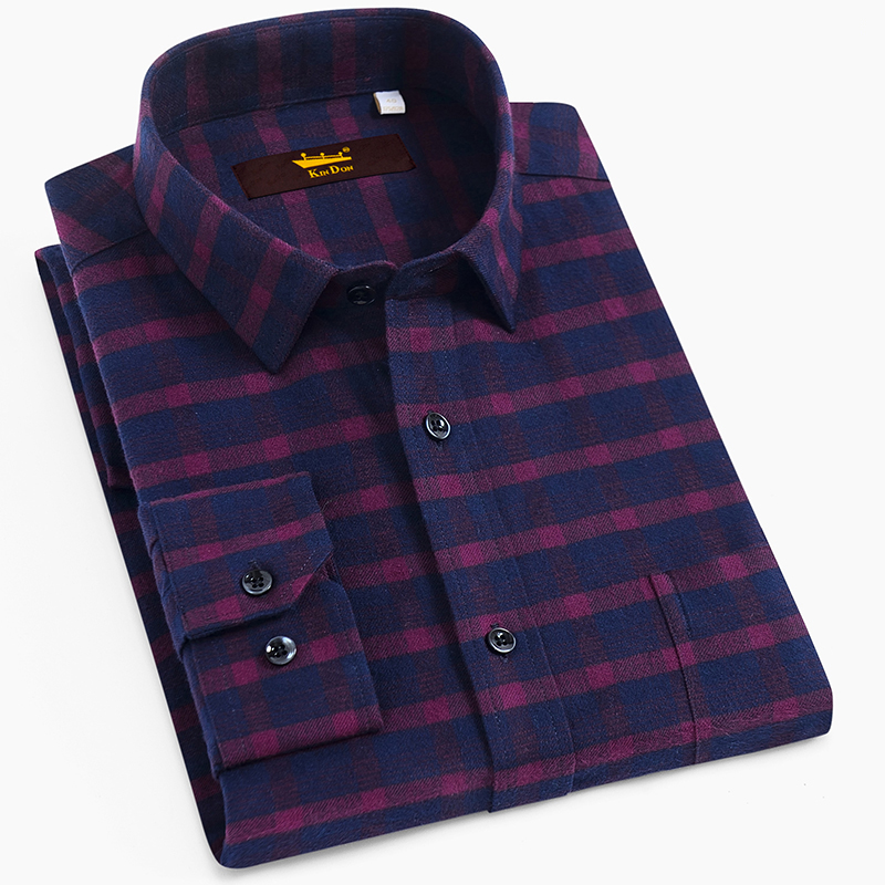 Men's Standard-fit Plaid Checkered Brushed Thick Shirt Single Patch Pocket Long Sleeve Comfortable Cotton Casualwear Shirts