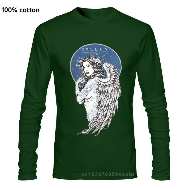 Sullen Mens Lady of Ink T Shirt Black Tee Clothing Apparel Printed T Shirts Long sleeve Hipster Tee colour jurney Print 2020