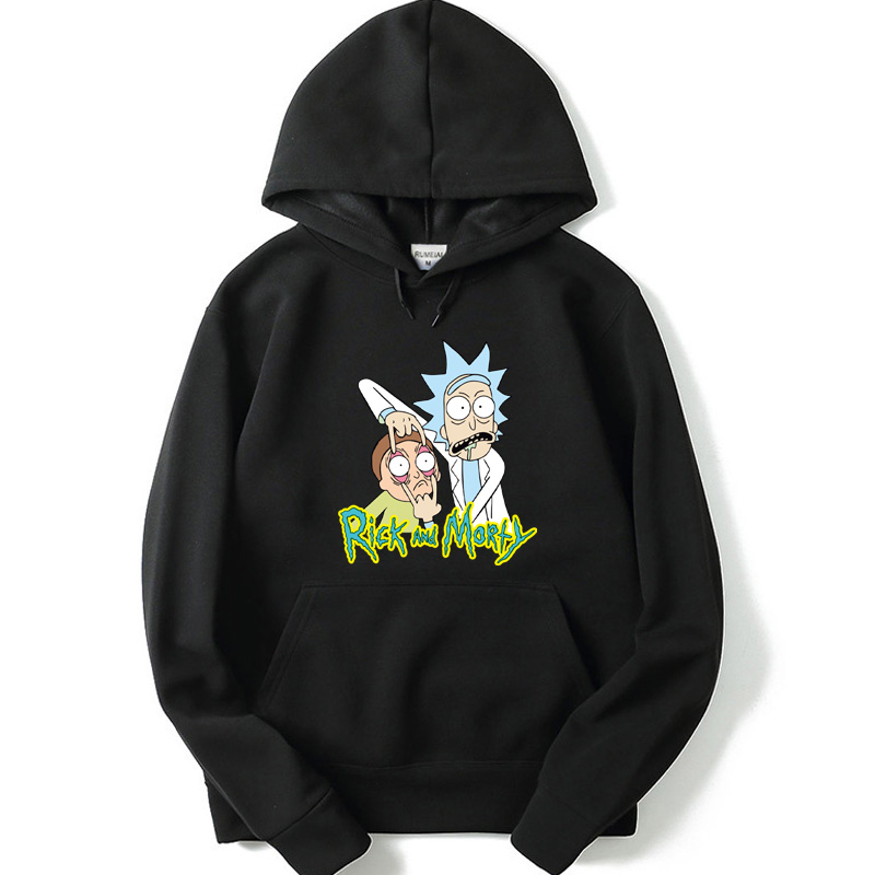 2019 Men Hoodies  Rick And Morty Hooded Mens Hoodies And Sweatshirts Oversized For Autumn With Hip Hop Winter Hoodies Men Brand