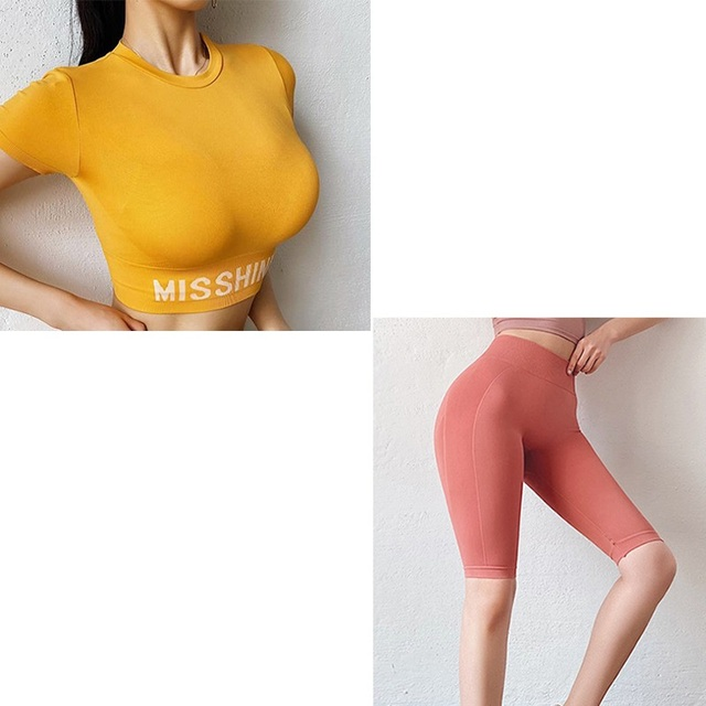 Seamless Yoga Set 2 pieces Gym Clothing For Women sport suit Outdoor High Waist cycling shorts and top Fitness Sportswear