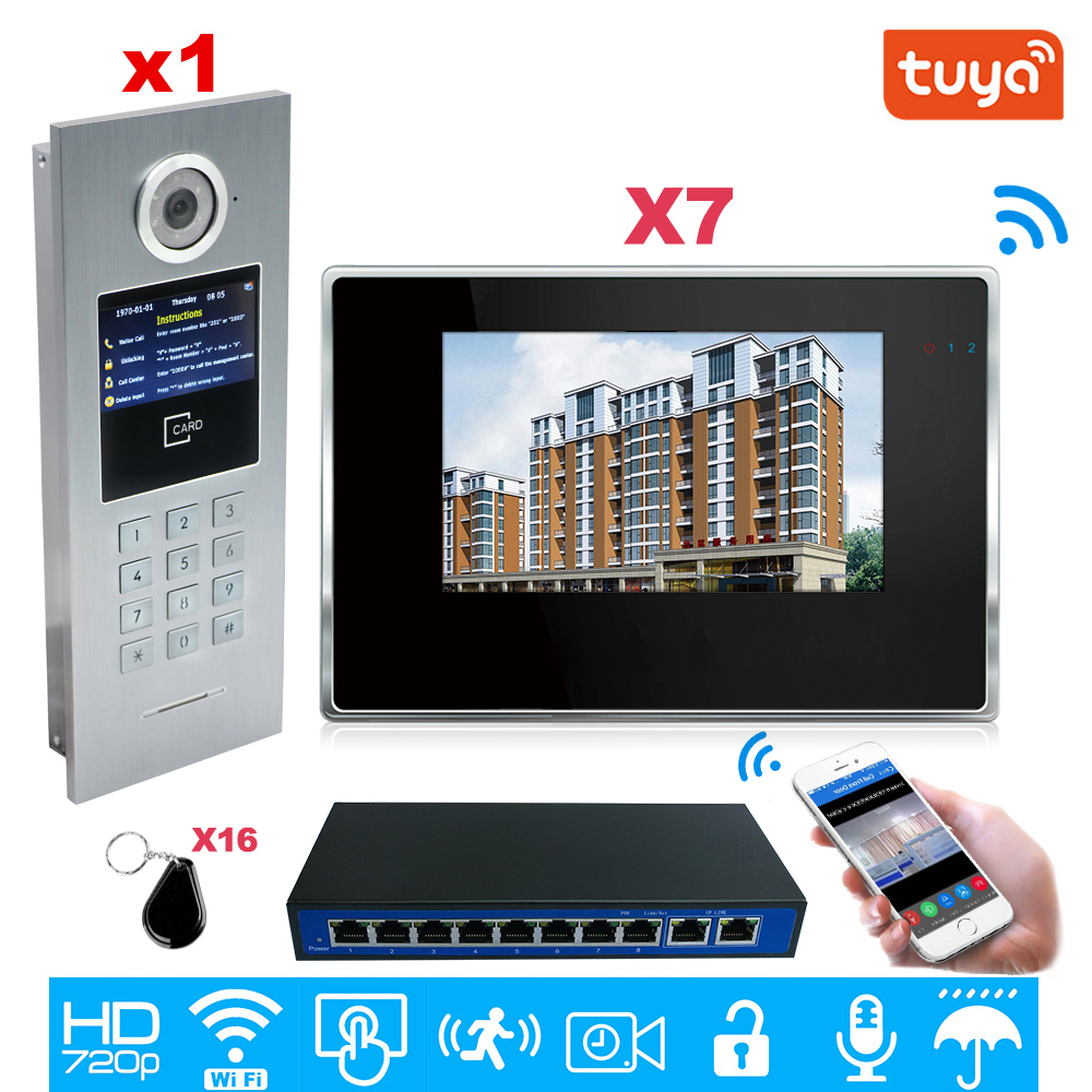 TuyaSmart APP Supported 960P WiFi Video Door Phone 7'' IP Video Intercom Security Home Access Control System Keypad/IC Card/1-7