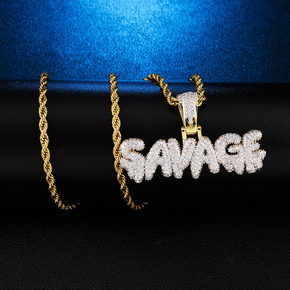 Bling Bling Savage Letter Necklace & copper Pendant Shiny Ice Out Link Chain Necklace  Rope Chain Choker Hip Hop Jewelry for Men