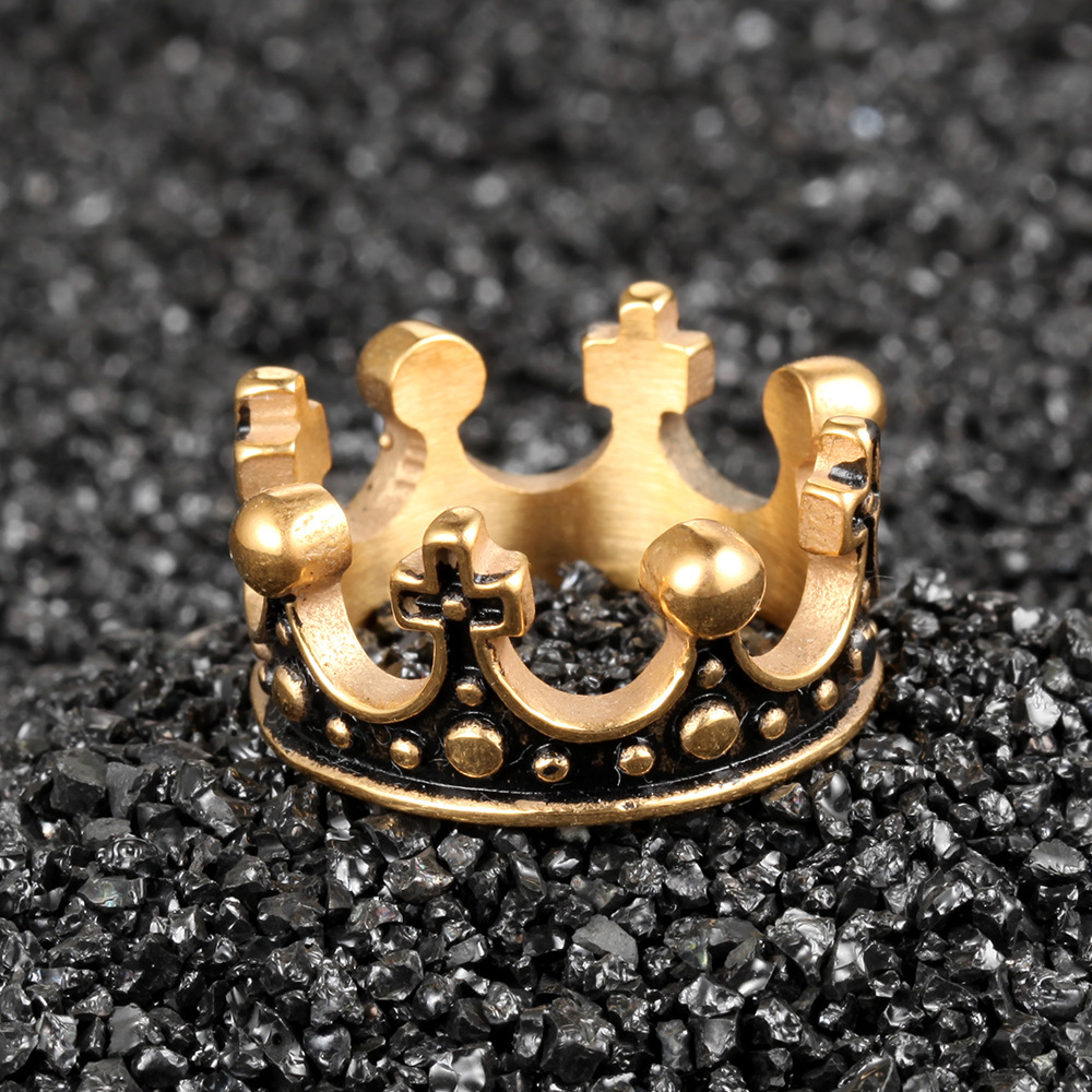 316L Stainless Steel Vintage Royal Crown Man Men Rings Punk Rock Hip Hop Creativity for Male Boyfriend Jewelry Accessories Gift