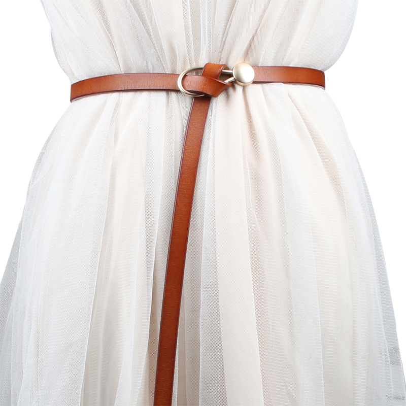 Knot Belts For Women Thin Genuine Leather Strap Belt Dress Accessories Female HOT Soft Real Leather Cowhide Fashion Narrow Belts