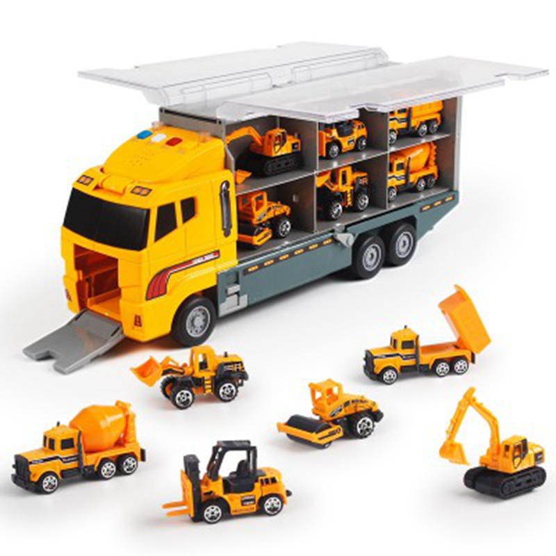 Big Truck Toy 6PCS Mini Alloy Diecast Car Model 1:64 Scale Toys Vehicles Carrier Truck Engineering Car Toys For Kids Boys