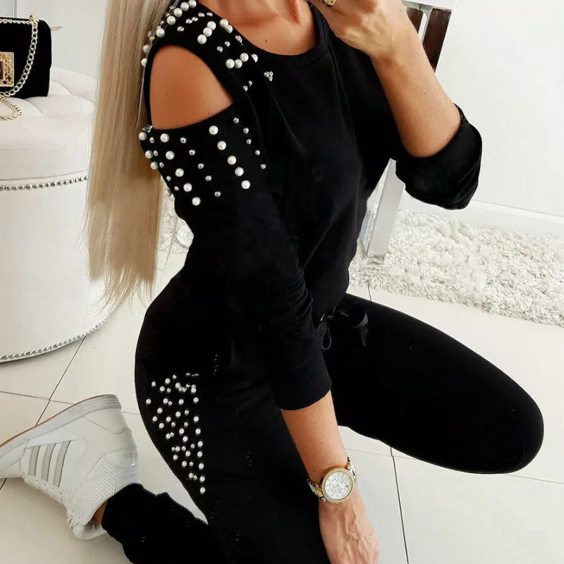 Women Ladies Tracksuit Cold Shouder Tops High Waist Bandage Fashion Pants 2Pcs Set Lounge Wear Casual Suit