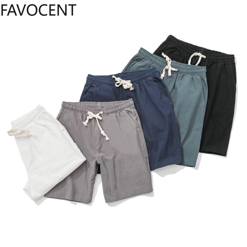 Shorts Men Summer Mens Cotton Linen Casual Shorts Solid Comfortable Drawstring Soft Short Breathable Male Streetwear Plus Size