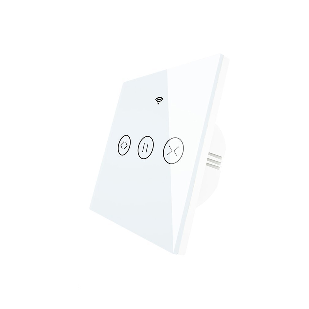 WiFi-rf Smart Touch Curtain switch, Blinds Roller Shutter door Switch,  RF remote control, multiple switches Alexa / / / White