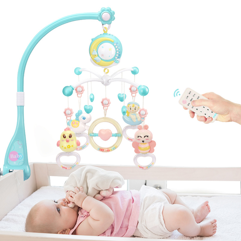 Baby Rattles Cartoon Educational Mobile Baby Remote Control Bed Crib Stroller Toys Holder Rotating Bed Baby Toys For Stroller