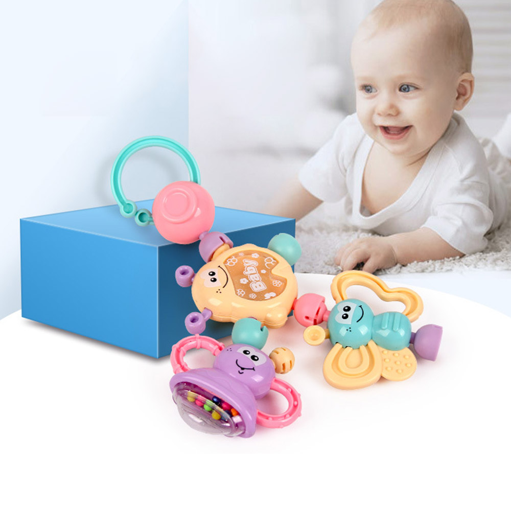 7pcs/Set Colorful Montessori Toys Teething Kids Educational Crib Mobiles Baby Teether Toy For Girls Waldorf Rattle Toy