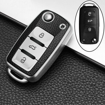 цена на TPU Leather Car Key Case For VW Volkswagen Jetta Golf 4 5 6 Polo Bora Passat B5 B6 Remote Holder Key Case Remote Car Accessories