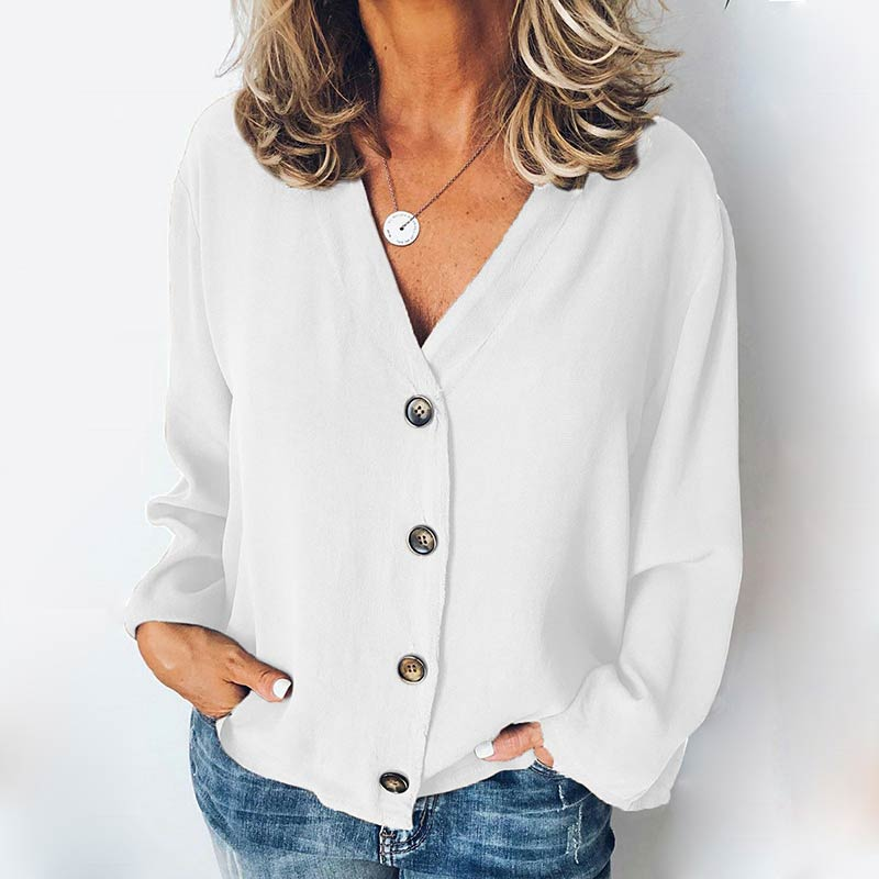 MISSJOY Women Shirt 2020 Spring New Cardigan V-Neck Button Plus Size Ladies Casual Long Sleeves Elegant Office Blouse Tops Black 9