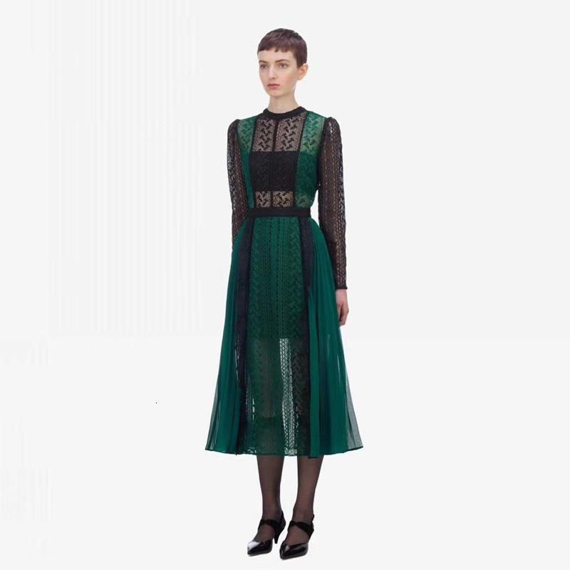 Luxe piste Designer auto Portrait robe 2019 automne mode dentelle épissure évider longue robe femmes partie nuit Femme Vestido - 3