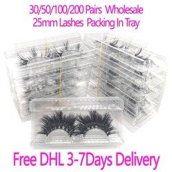 Venta al por mayor de 30/50/100/200 pares de pestañas de visón 3D de 25mm, pestañas de visón 5D, embalaje de pestañas de visón en bandeja, etiqueta de maquillaje, pestañas largas de visón dramáticas
