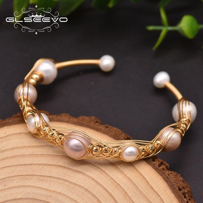 Glseevo doğal barok inci Charm sargı bilezikler kadınlar için nişan el yapımı klasik lüks güzel mücevher GB0935