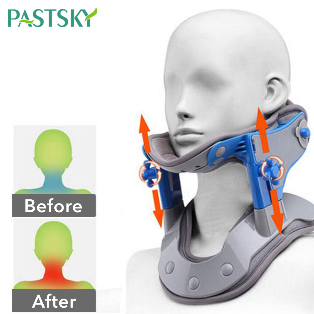 Electric Infrared Heating Cervical Traction Neck Spine Support Hot Compression Tractor Stretching Collar Brace Pain Relief