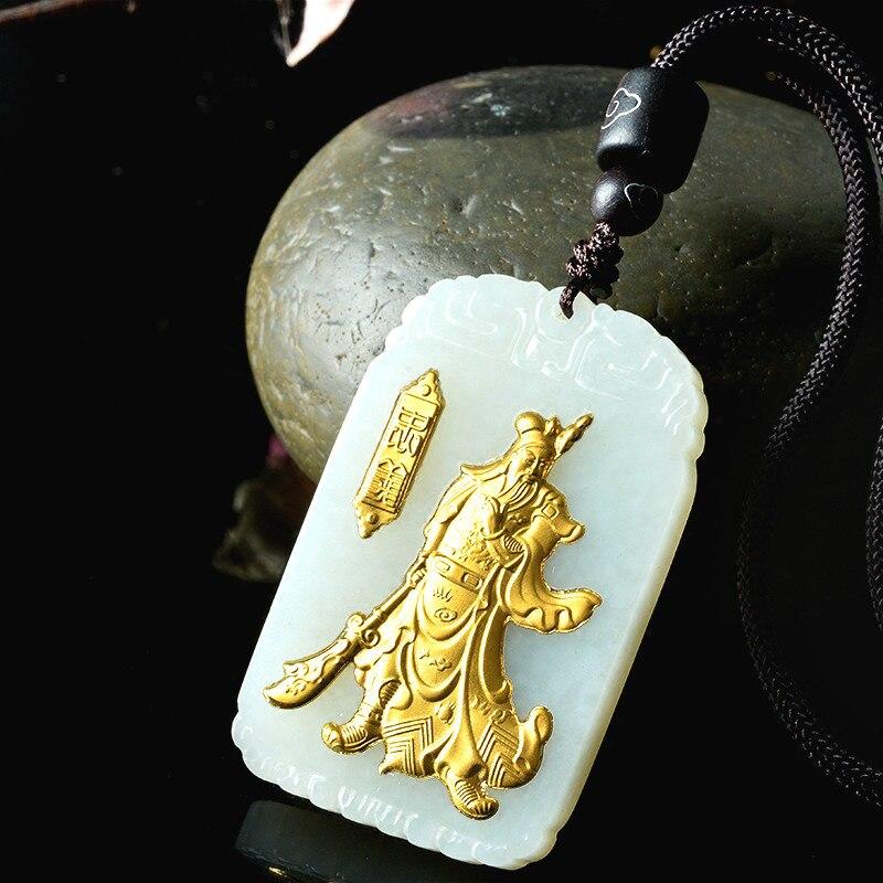 Naturel chinois Hetian blanc Jade mosaïque or pendentif Guan Yu beau bijoux collier sculpté mode pour hommes amulette cadeaux - 3