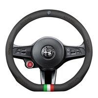 38cm Genuine Leather Car steering wheel cover Sport Racing for alfa romeo 159 147 156 giulietta 147 159 mito stelvio Giulia
