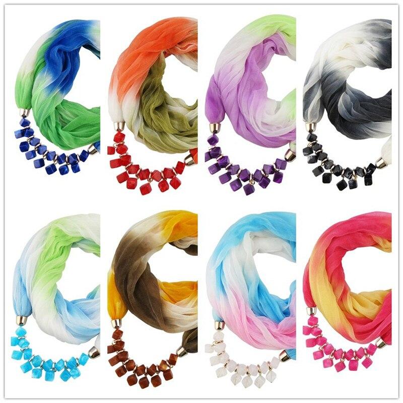 2020 NEW Arrival Jewelry Statement Necklace Pendant Gradient Silk Scarf Women Neckerchief  Foulard Femme Accessories