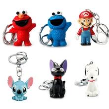 Cartoon super Mario Totoro Sesame Street Trinket Resin 3D Stitch keychain Lovely Captain America Car Keyring Christmas Gifts
