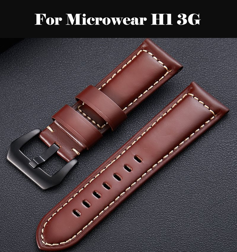 20 22 26 MM Genuine Leather Watch Band Smart Watch Accessories Bracelet Strap Band For Microwear H1 3G