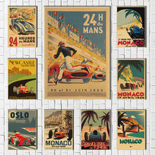 Hot Champion World Grand Prix Retro Monaco 64th Super Motor Car Poster Wall Art Kraft Paper Posters Wall Stickers