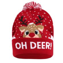 Christmas Hat Moose Head Cuffed Women Men Hats Bobble Ball Pompom Winter Beanie Skullies Green Knit with LED Colorful Lights Cap