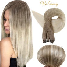VeSunny Sew in Double Weft Bundle Human Hair Brazilian Straight Remy Hair Color Sew in