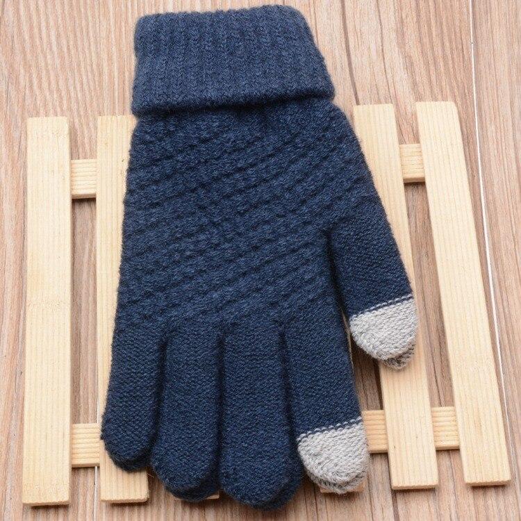 Knitted Black Mittens Knit Click Screen Fingers Screen Warm Fleece Men's Gloves Womens Men Winter Geometric Glove Rekawiczki #2