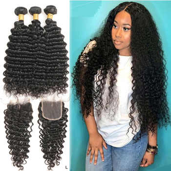 Deep Curly Hair Bundles With Closure Brazilian Hair Weave 3 Bundles Human Hair with Closure Mihair Remy Hair Extensions 1B# - DISCOUNT ITEM  61% OFF All Category