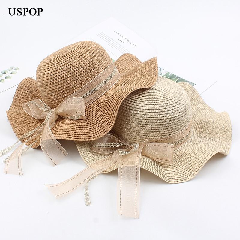 USPOP 2020 New Sun Hats Wave Wide Brim Straw Hats Women Summer Hats Sweet Bow Beach Hat Female Straw Sun Hat