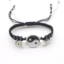 Couple Bracelets Chinese Tai Chi Gossip Element Braided Charm Hematite Chain Alloy Pendant Jewelry