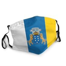 Bandeira de espanha oceano respirável unisex adulto boca máscara facial espanhol ilhas canárias proteção à prova de poeira capa respirador muffle