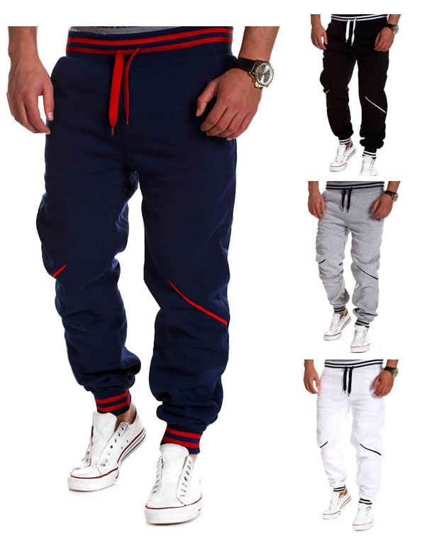 Zogaa New Men's Pants Casual Contrast Color Splice Sports Joggers Sweatpants