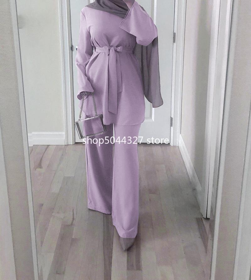 Women Fashion Two Piece Matching Outfit Belt Tops Back Zip Full Sleeve Long Wide Leg Pants Muslim Islamic Sets Dubai Turkey Chic