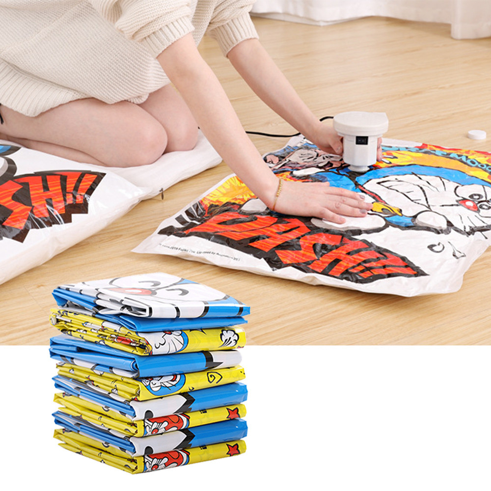 Cartoon Vacuum Bags For Clothes Packing Home Organizer Travel Storage Compression Bag With Valve Clothing Pump Zip Dorm Holder