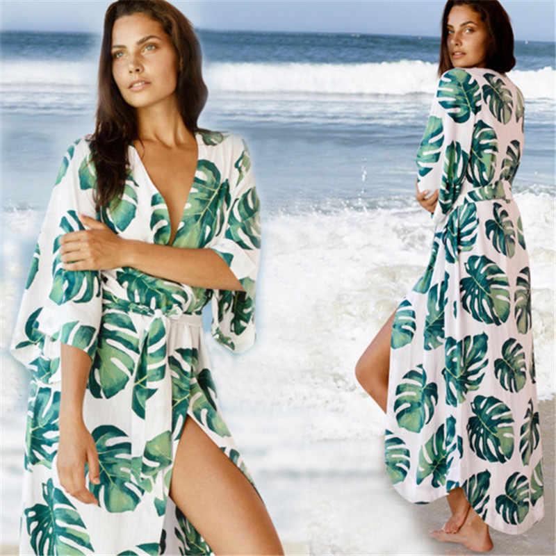 2019 moda impresa cubierta-ups Sexy verano playa vestido algodón túnica mujeres ropa de playa traje de baño cubrir Bikini Wrap Sarongs