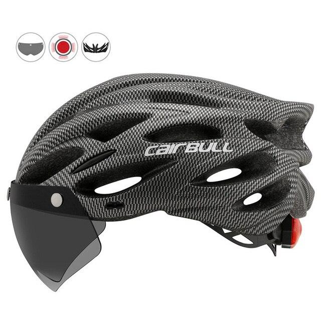 Mais novo bicicleta de estrada mountain bike capacete com tt lens & viseira das mulheres dos homens ciclismo capacete com luz traseira esportes mtb capacete da bicicleta 3