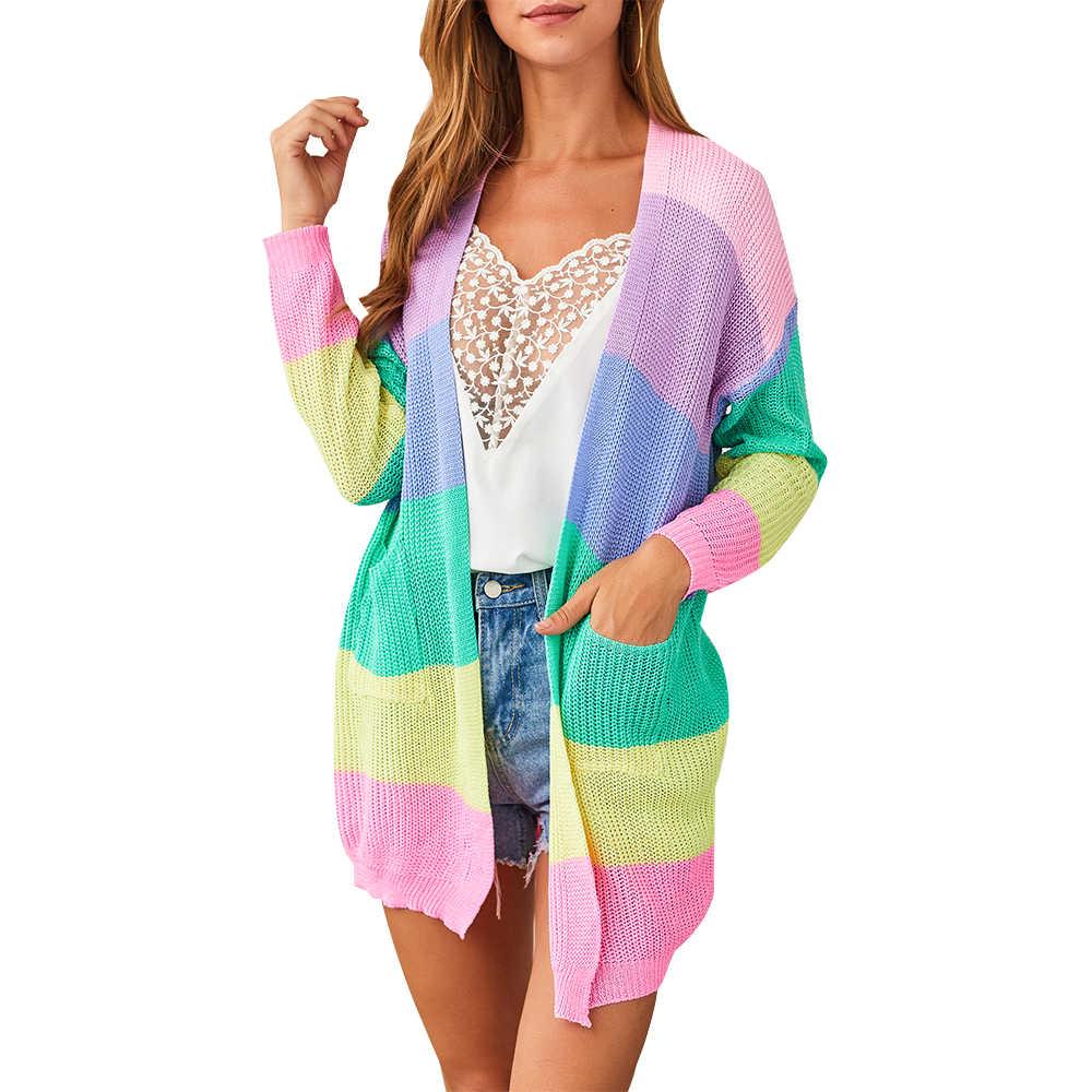 CALOFE женский осенний свитер с длинными рукавами Открытый лоскутный вязаный передний Радужный полосатый кардиган Женское Пальто Sueter Mujer Invierno