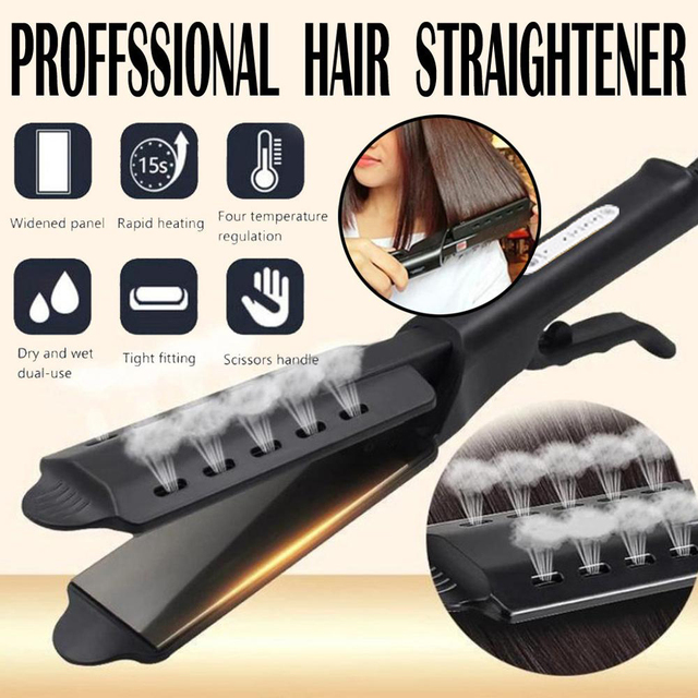 Women Hair Straightener Steam hair Iron Four gear temperature adjustment Ceramic Tourmaline Ionic Flat Straightening Irons