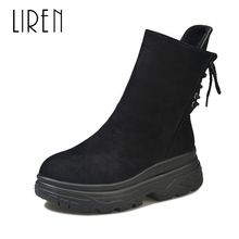 Liren 2019 Spring/Autumn Women Fashion Sexy Ankle Lace-up Boots PU New Comfortable Round Wrapped Toe Loe Heels