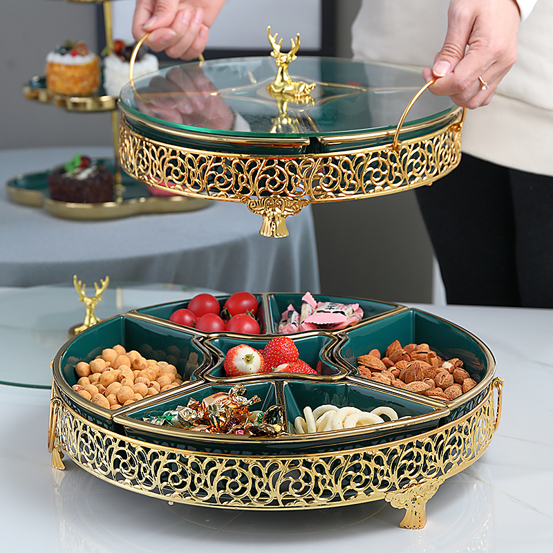 Luxury Nordic Creative Gold Deer Ceramic Dry Fruit Snack Plates Candy Box Fruit Platter Modern Coffee Table Collection Box Gift