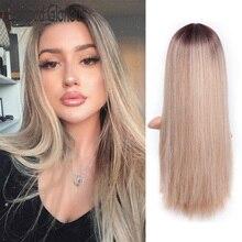 Штампованный славный 26 дюймов прямой синтетический длинный парик Омбре блонд парик для женщин средняя часть природы парики термостойкие волосы