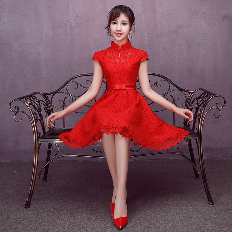 Red Wedding Party Dress Lace Appliques A-Line Maid Of Honor Dress Bridesmaid Formal Short Dress For Wedding Vestido Azul Marino