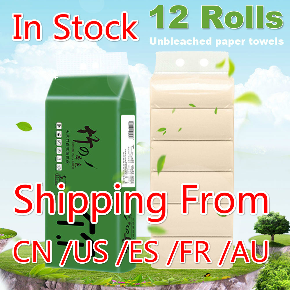 12 Rolls High Quality Materials 4-Layer Home Bath Paper Toilet Roll Paper White Toilet Paper Roll Skin-friendly Paper Towels