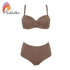 Image 3 - Andzhelika Sexy Bandeau Bikini Set Swimsuit Solid Push Up High waist Bikinis Two piece Beach Bathing Suit plus Size Swimwear