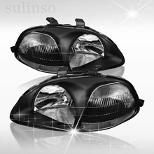 Sulinso Plug-N-Play Operation All Black Clear Headlights Head Lamps Amber Reflector for Honda-Civic swivel neck thermostat cooling component housing radiator hose for acura honda civic k20 k24 k swap