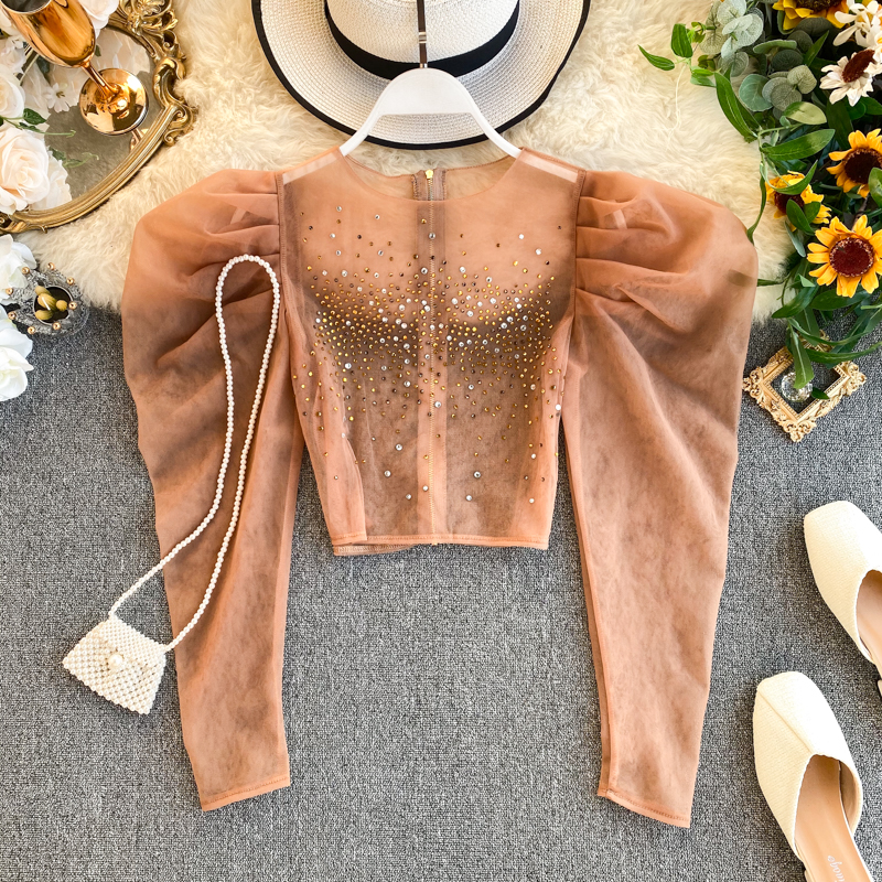 Women Royal Palace Retro Hot-drill Folding Long Puff Sleeve Short Net Yarn Tops Lady Solid Color Elegant Blouse Shirts K983