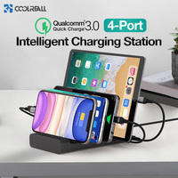 Coolreall 4 Port Multi USB Phone Charger For IPhone X 11 Quick Charge 3.0 Home Charger Stations For Multiple Devices Phones|Mobile Phone Chargers|   -