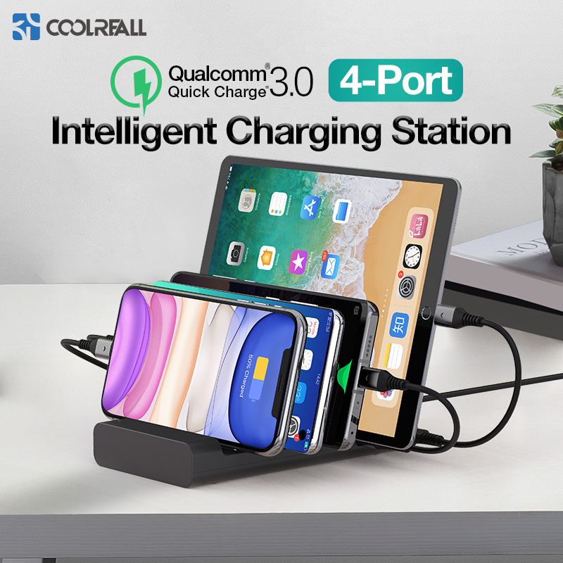 Coolreall 4 Port Multi <font><b>USB</b></font> Phone <font><b>Charger</b></font> For IPhone X 11 Quick Charge 3.0 Home <font><b>Charger</b></font> Stations For Multiple Devices Phones image